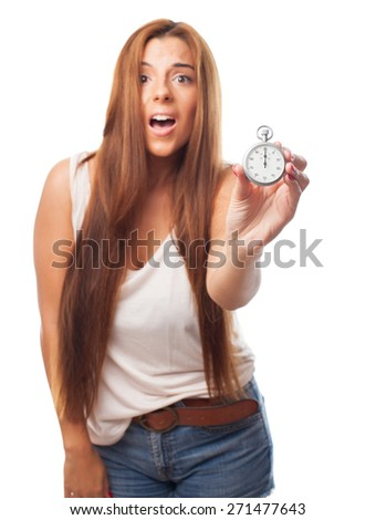 woman holding a stopwatch - stock photo