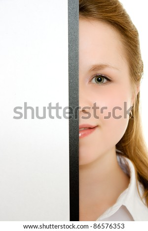 Woman holding a white board. - stock photo