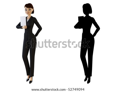 Woman holding a white panel - stock photo