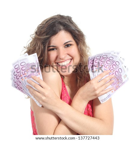 Woman holding and showing a lot of five hundred euro banknotes with both hands isolated on a white background - stock photo