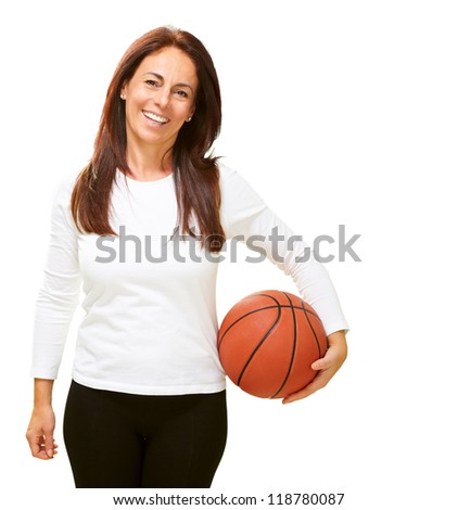 Woman holding basketball isolated on white background - stock photo