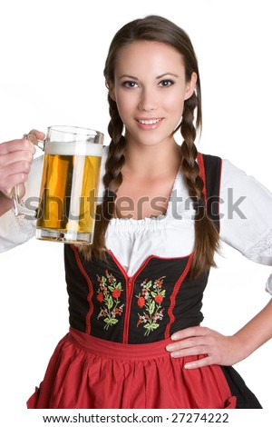 Woman Holding Beer - stock photo
