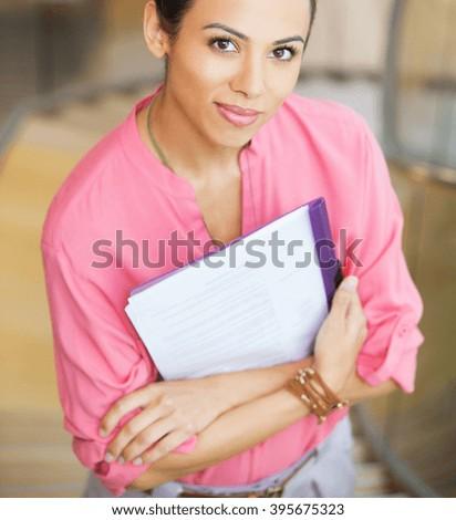 woman holding blank - stock photo