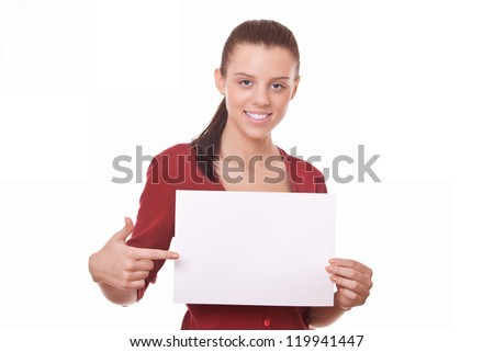 woman holding blank board or paper for you advert - stock photo