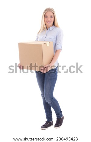 woman holding cardboard box isolated on white background - stock photo