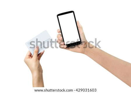 Woman Holding Credit Card And Smartphone Checking Account. Buy Online - stock photo