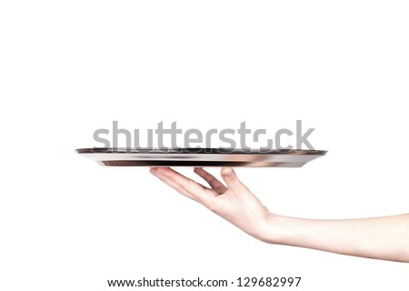 woman holding empty silver tray isolated on a white background - stock photo