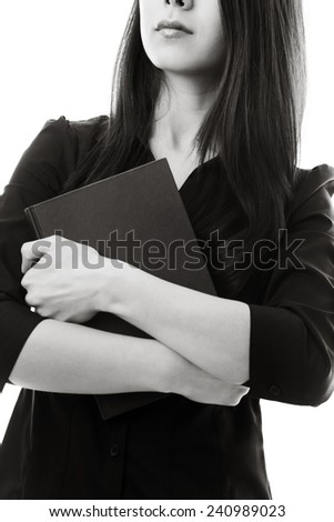 woman holding folder shot on white back ground - stock photo