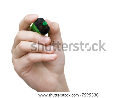 woman holding green pen isolated on white background - stock photo