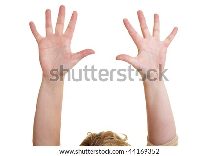 Woman holding her empty hands over her head - stock photo