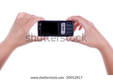 woman holding mobile phone isolated on white background. landscape orientation. - stock photo