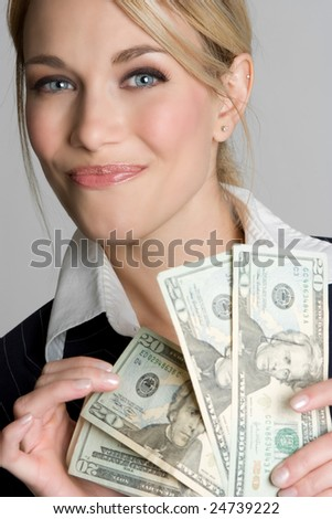 Woman Holding Money - stock photo