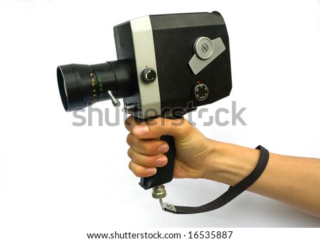 Woman holding Old-Fashioned Retro Camera. Isolated on White - stock photo