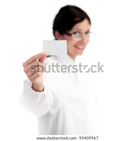 Woman holding out card. copy space, white background - stock photo