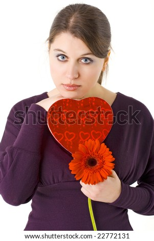 woman holding red flower and gift box for Valentines day - stock photo