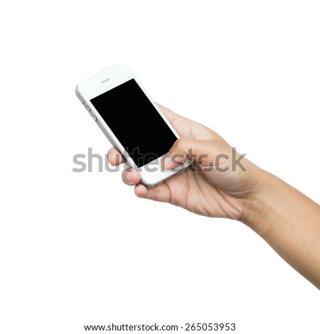 Woman holding smart phone isolated on white background - stock photo