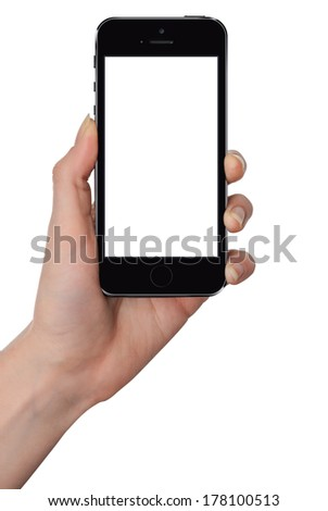Woman holding smart phone similar to iphone with isolated screen in hand, isolated on white. - stock photo