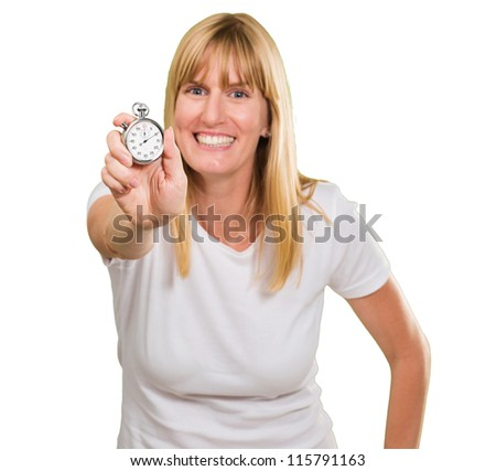 Woman Holding Stopwatch On White Background - stock photo