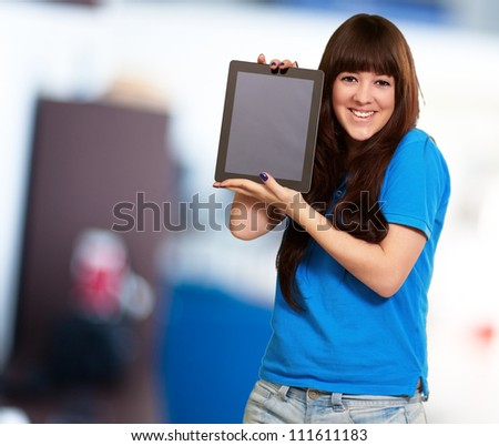 Woman Holding Tablet, Indoor - stock photo
