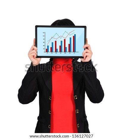 woman holding  touch pad with chart on screen - stock photo