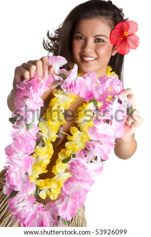 Woman holding tropical flower lei - stock photo