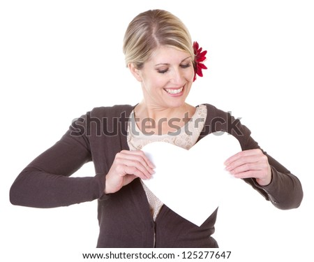 woman holding white heart close-up isolated on white - stock photo