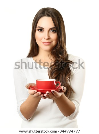Woman holds cup of coffee and plate in hands isolated on white background, close up - stock photo