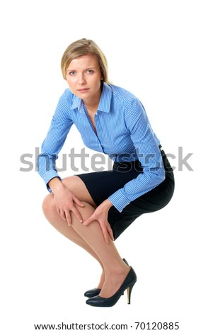 woman holds her calf, tired painful legs concept, isolate - stock photo