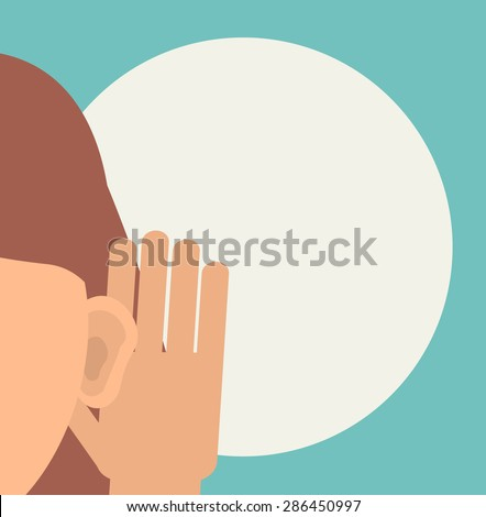 Woman holds her hand near her ear and listening - stock photo
