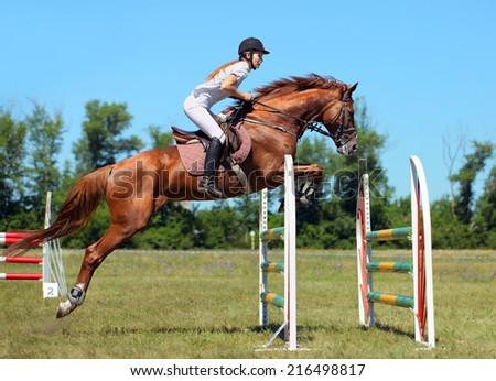 Woman horseback on jumping red chestnut horse - stock photo