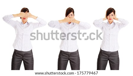 Woman image of the saying Hear no See no Speak no evil. - stock photo