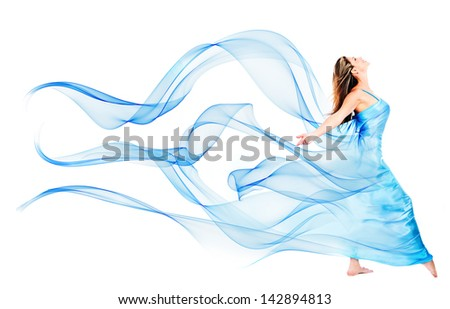 Woman in a beautiful blue dress - isolated over a white background - stock photo