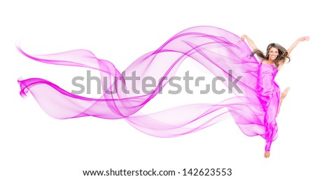 Woman in a beautiful fuchsia dress - isolated over a white background - stock photo