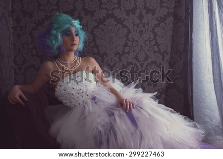 Woman in a big prom dress - stock photo