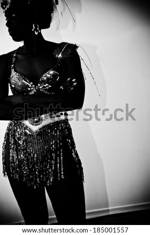 woman in a carnival costume - stock photo