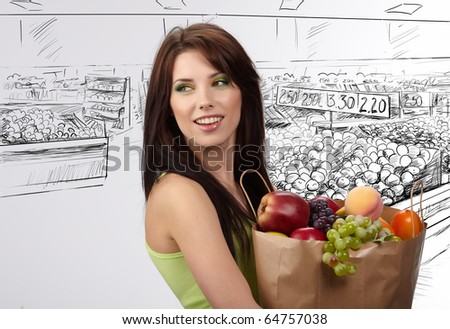 woman in a supermarket - stock photo