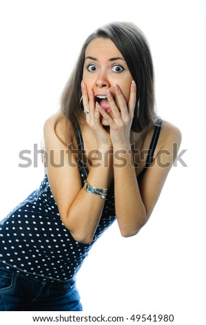 woman in a white backgrounds - stock photo