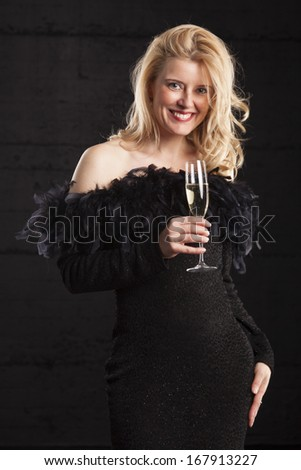 woman in an evening gown  - stock photo