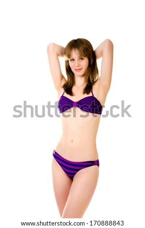 woman in bikini isolated on a white background - stock photo