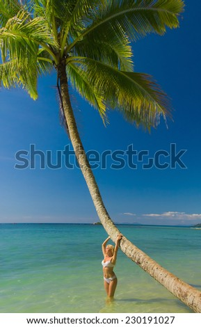 Woman In Bikini Tanning Pleasure  - stock photo