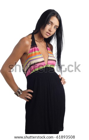 Woman in black dress isolated. More images of this models you can find in my portfolio - stock photo