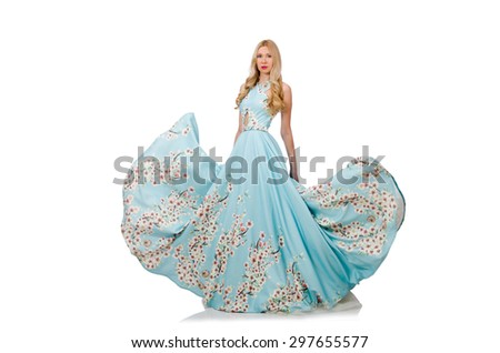 Woman in blue long dress with flower prints isolated on white - stock photo