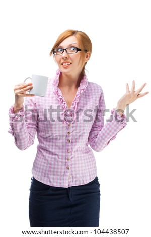 woman in business attire gesturing - stock photo