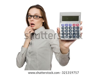 Woman in business concept isolated on white - stock photo