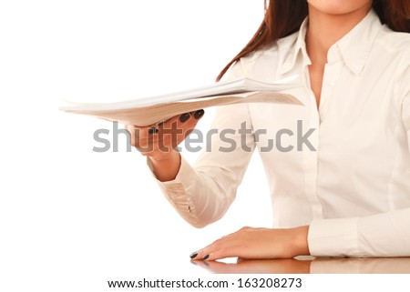 Woman in business giving job application isolated on white background - stock photo