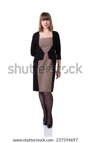 Woman in business suit isolated over white background. - stock photo