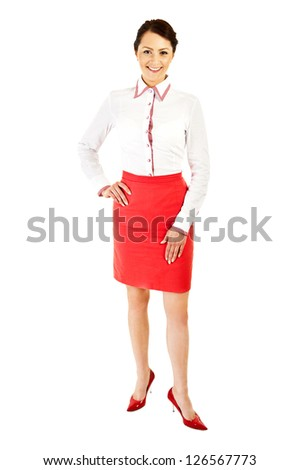 Woman in business uniform on white background with big smile - stock photo