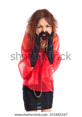 Woman in cabaret style shouting over white background   - stock photo