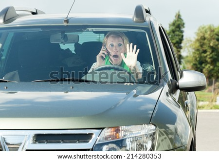 woman in car  - stock photo