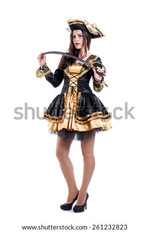 Woman in carnival costume. Pirate shape. Isolated on white - stock photo